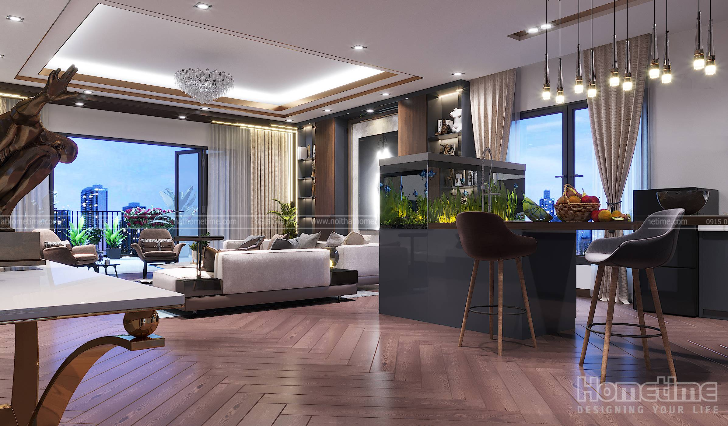 Không gian thiết kế rộng rãi với xu hướng liên thông các phòng