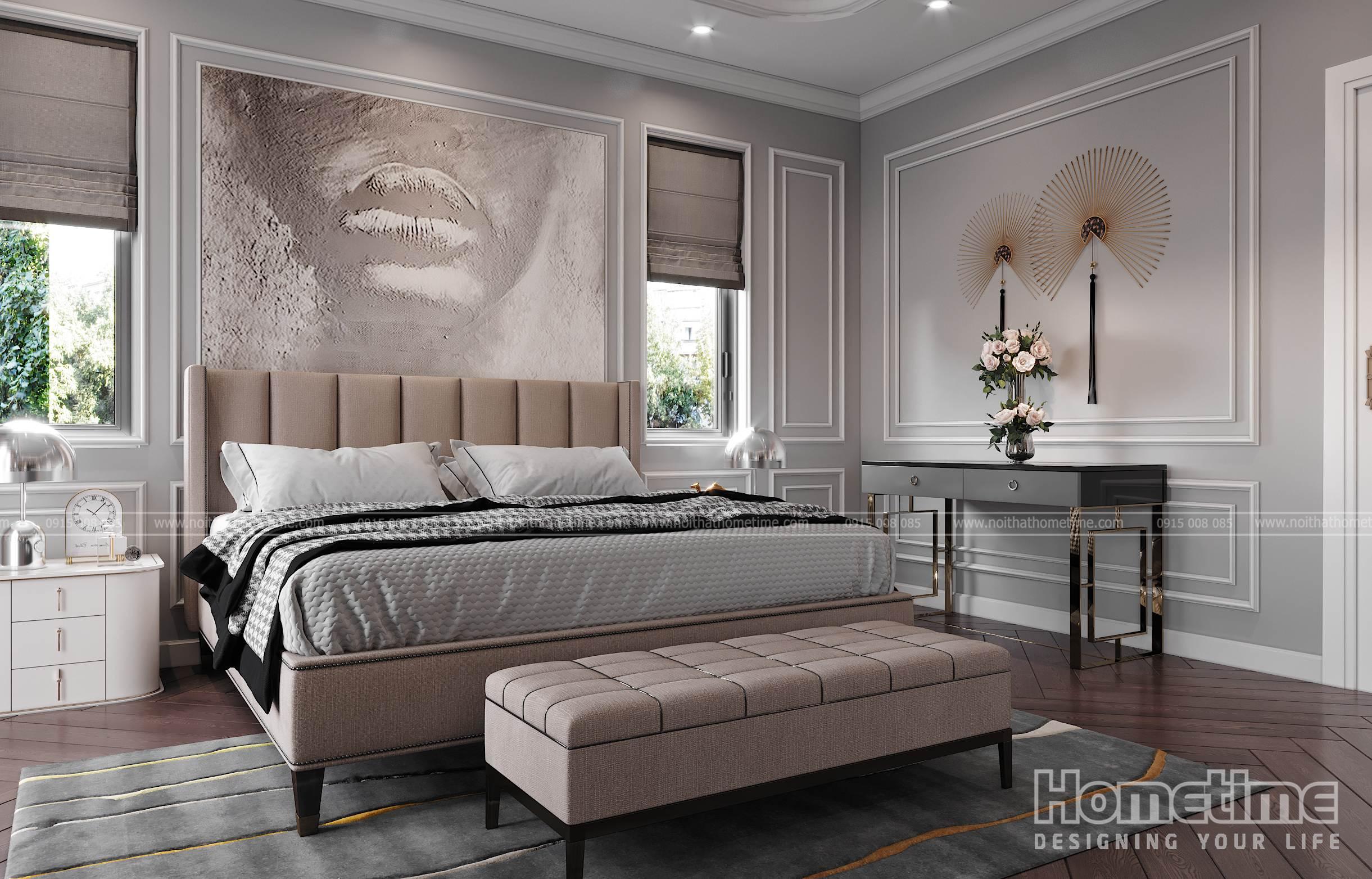 Không gian phòng ngủ được thiết kế đầy đủ tiện nghi
