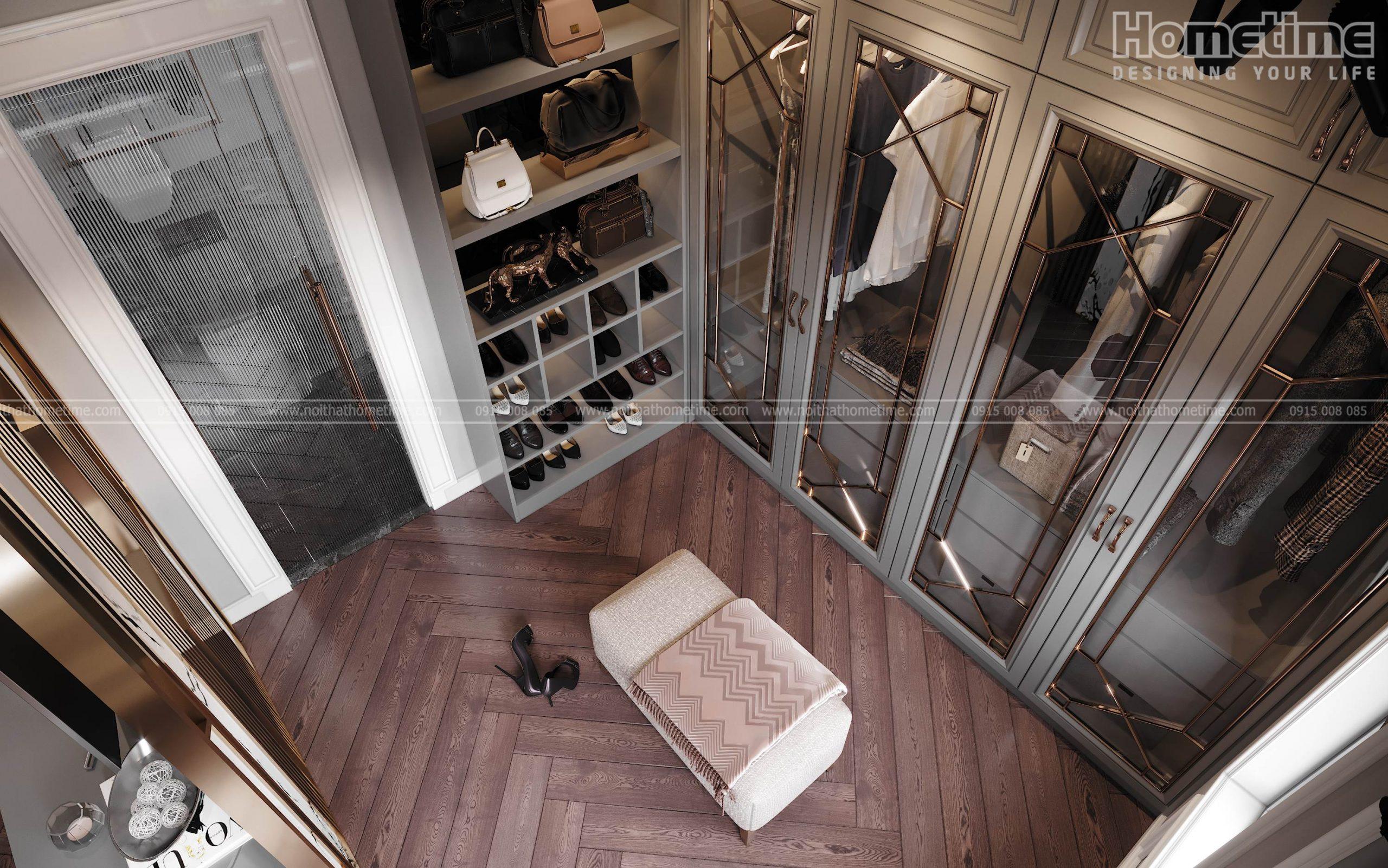 Toàn cảnh không gian thay đồ phòng ngủ
