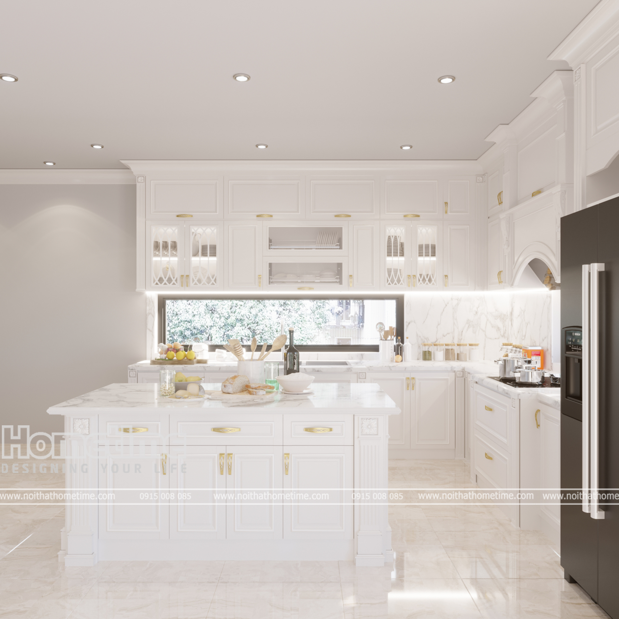 Thiết kế bàn đảo tủ bếp tiện nghi trong gia đình