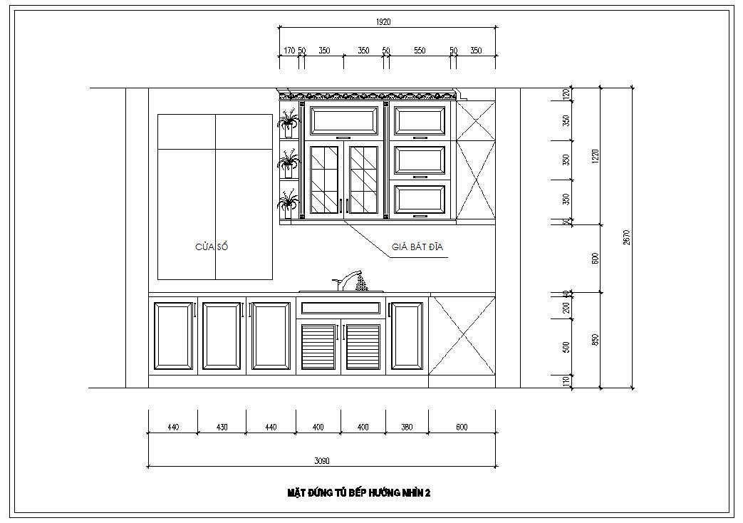 Hình ảnh tủ bếp theo hướng nhìn 2