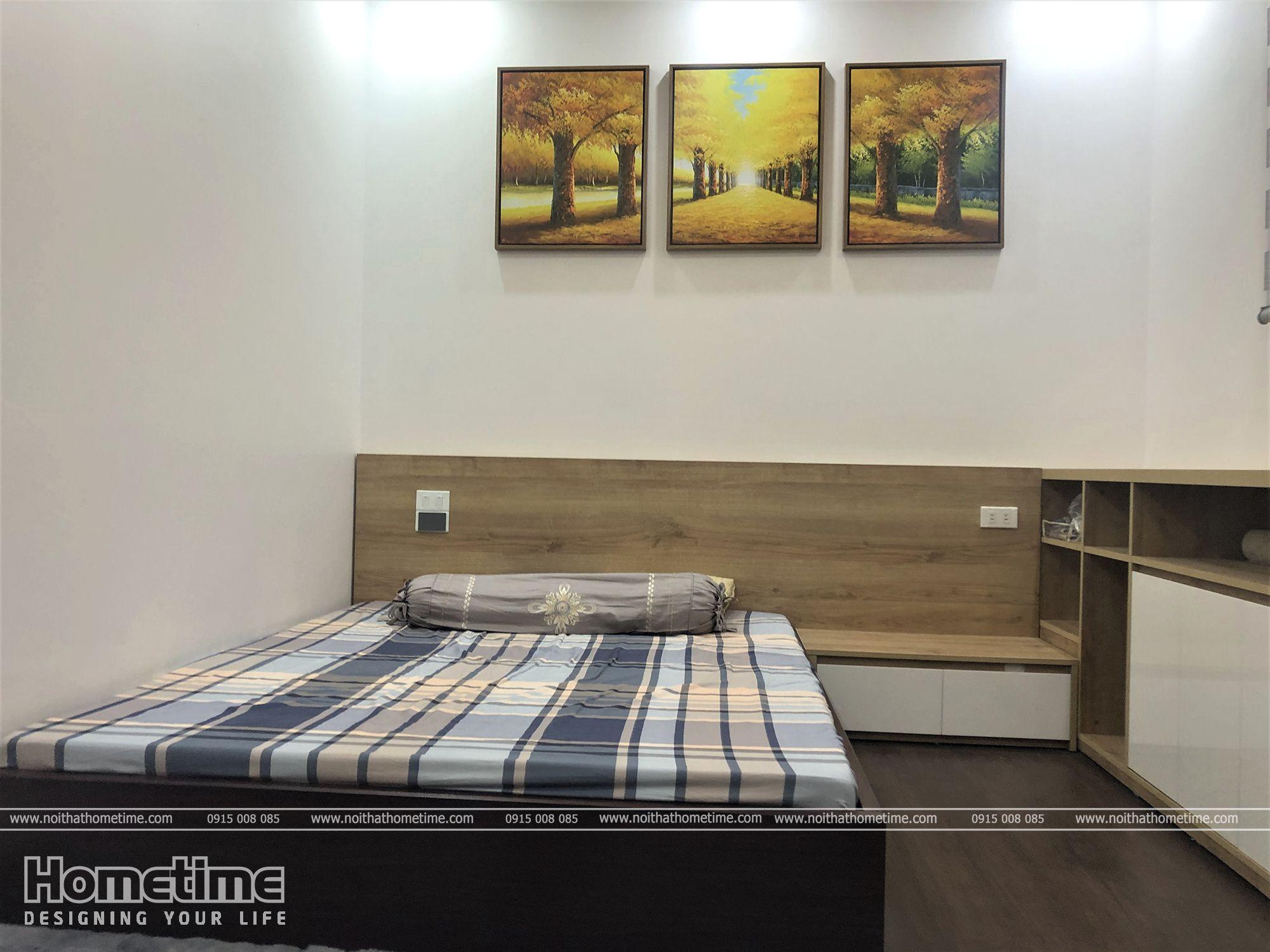 Giường ngủ gỗ MDF chống ẩm nhỏ gọn êm ái