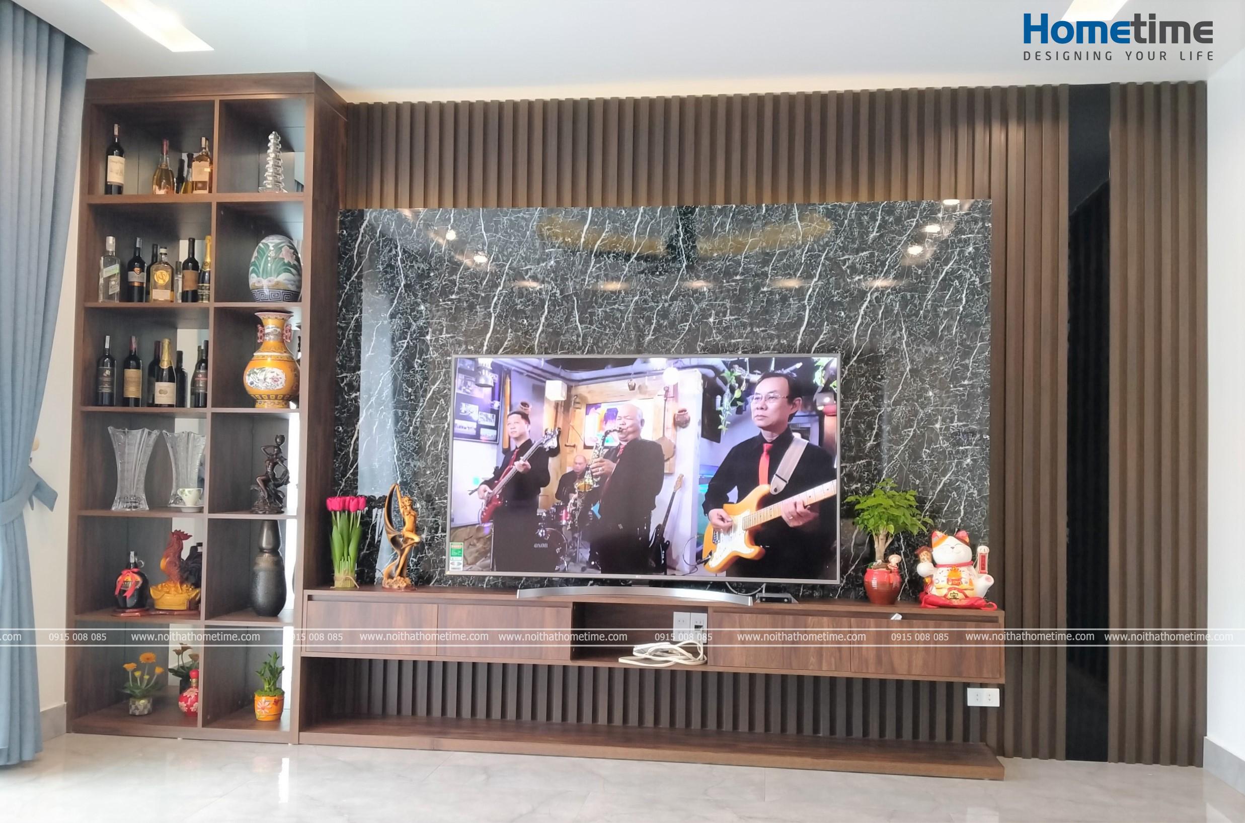 Kệ tivi thiết kế kiểu dáng hiện đại kèm theo tủ đồ trang trí