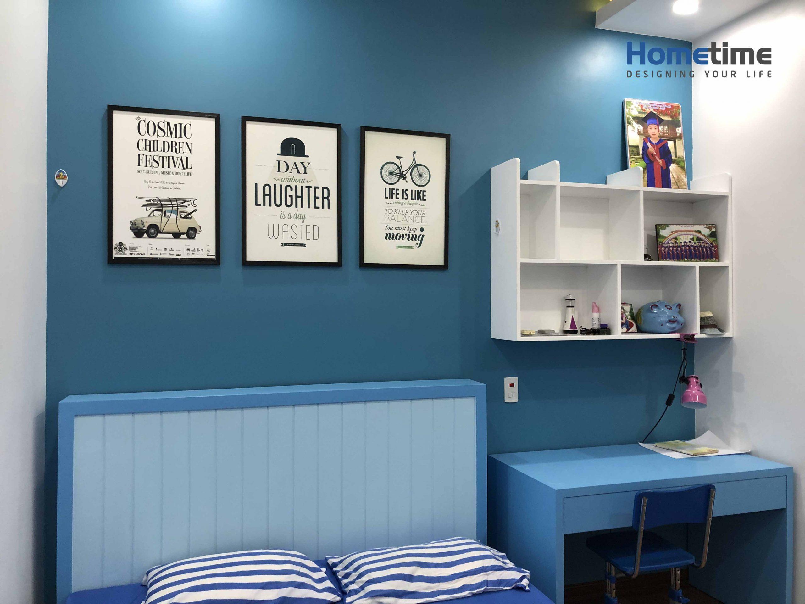 Nội thất phòng ngủ con với tông màu xanh dương