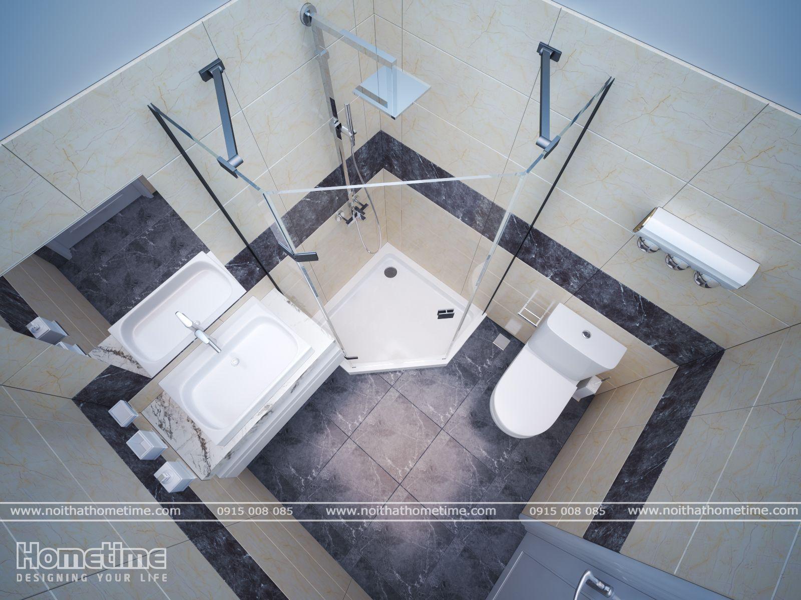 Mẫu thiết kế nội thất phòng tắm đầy đủ tiện nghi