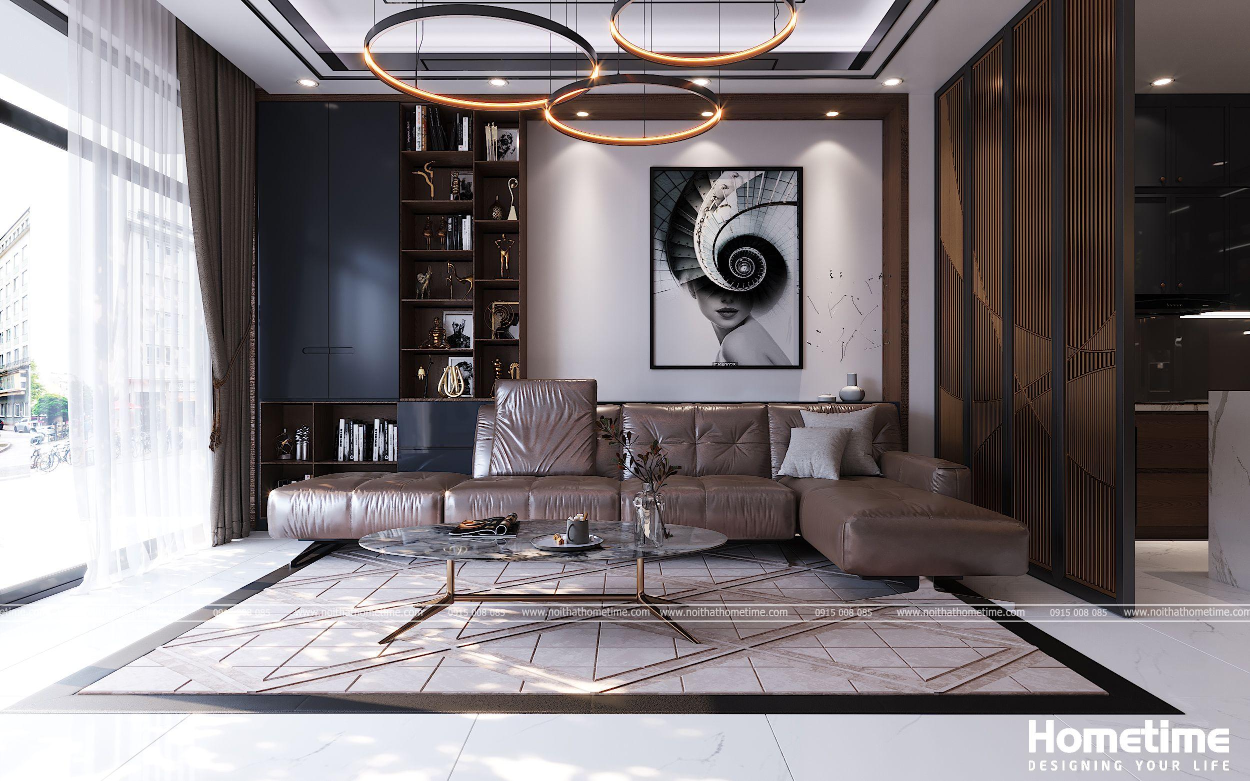Bộ sofa màu nâu cafe sang trọng hiện đại