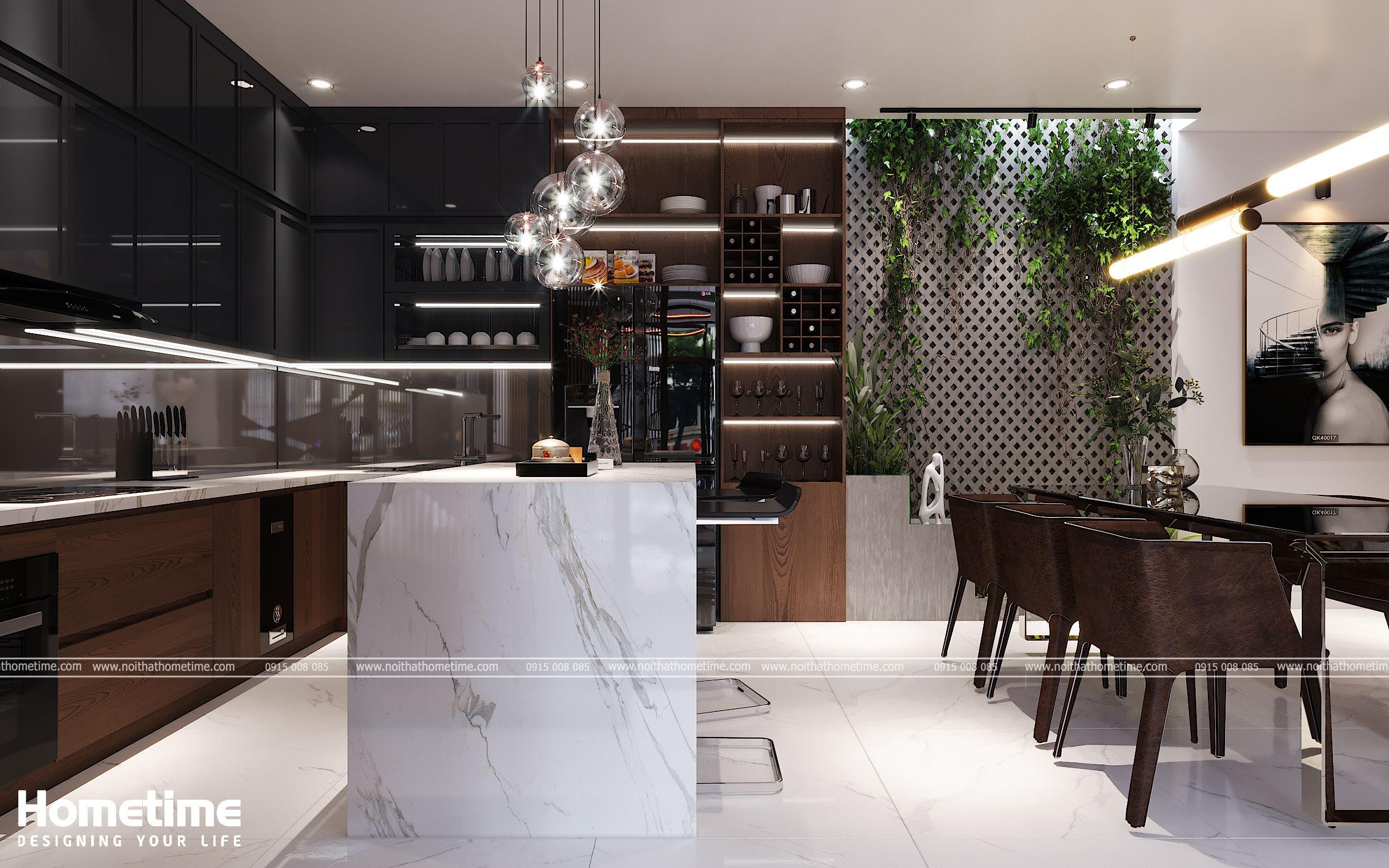 Sự kết hợp giữa nội thất phòng bếp và phòng ăn