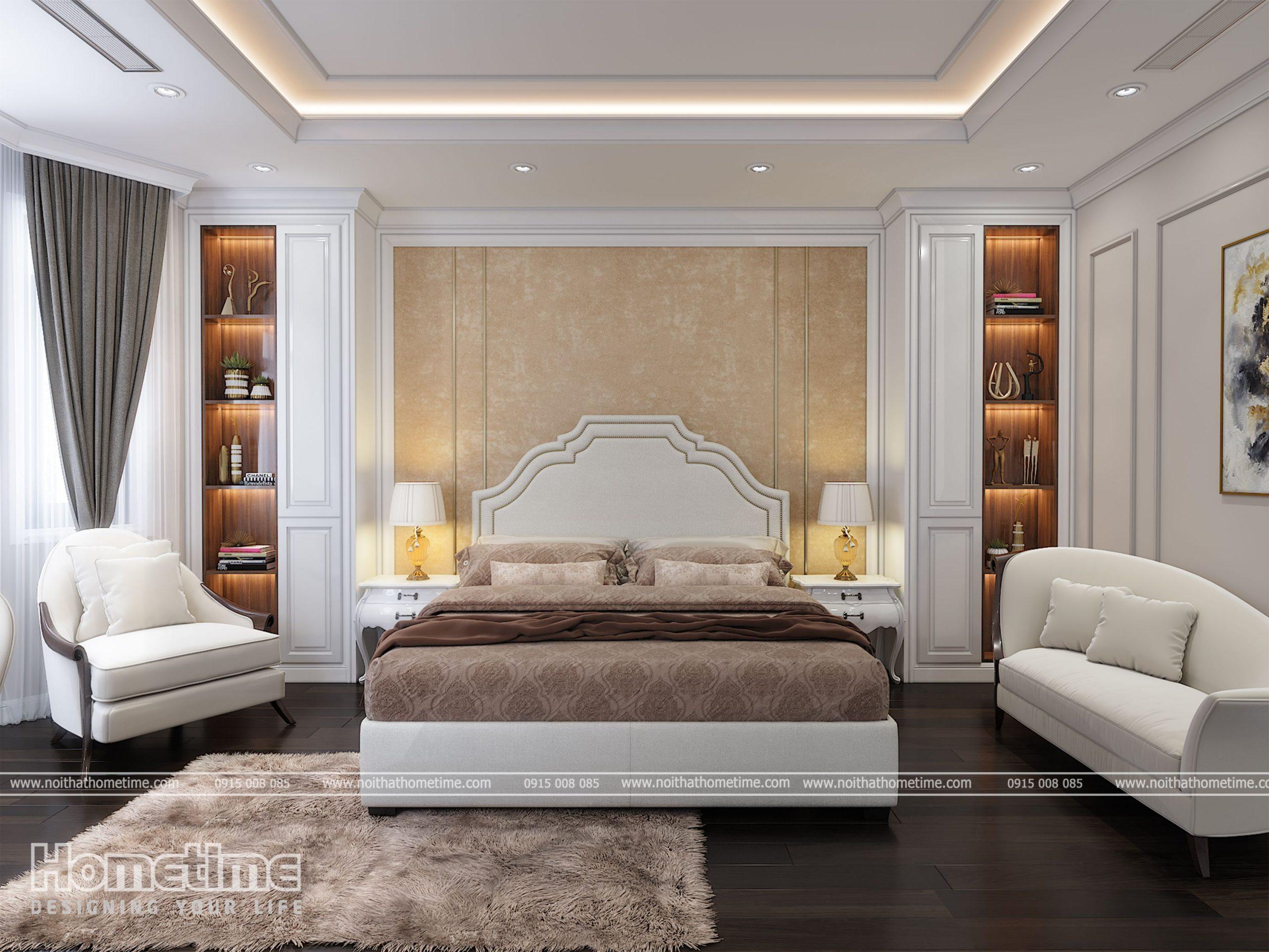 Giường ngủ kiểu dáng tân cổ điển với màu nâu sữa