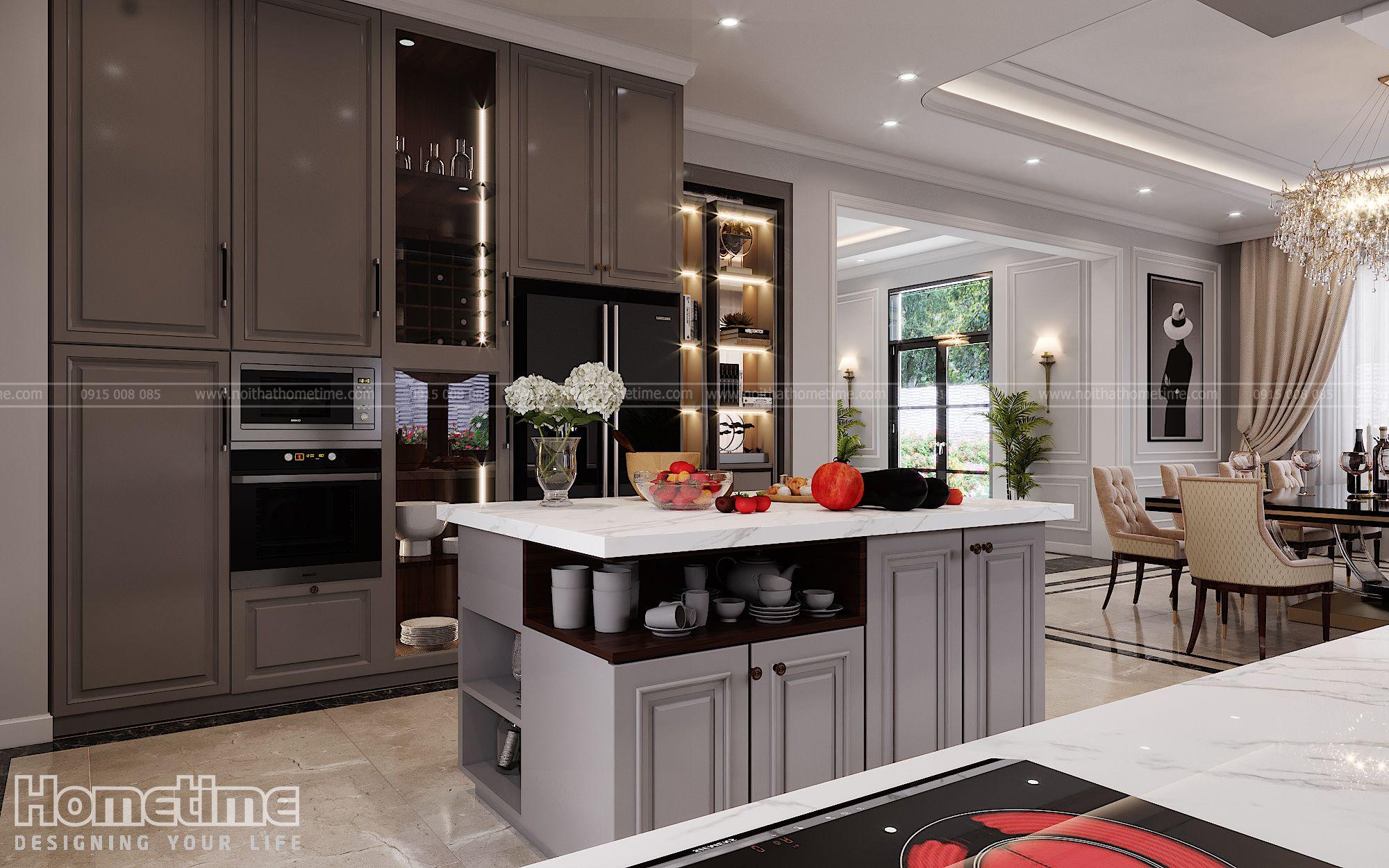 Một số công năng tiện ích khác của tủ bếp tân cổ điển