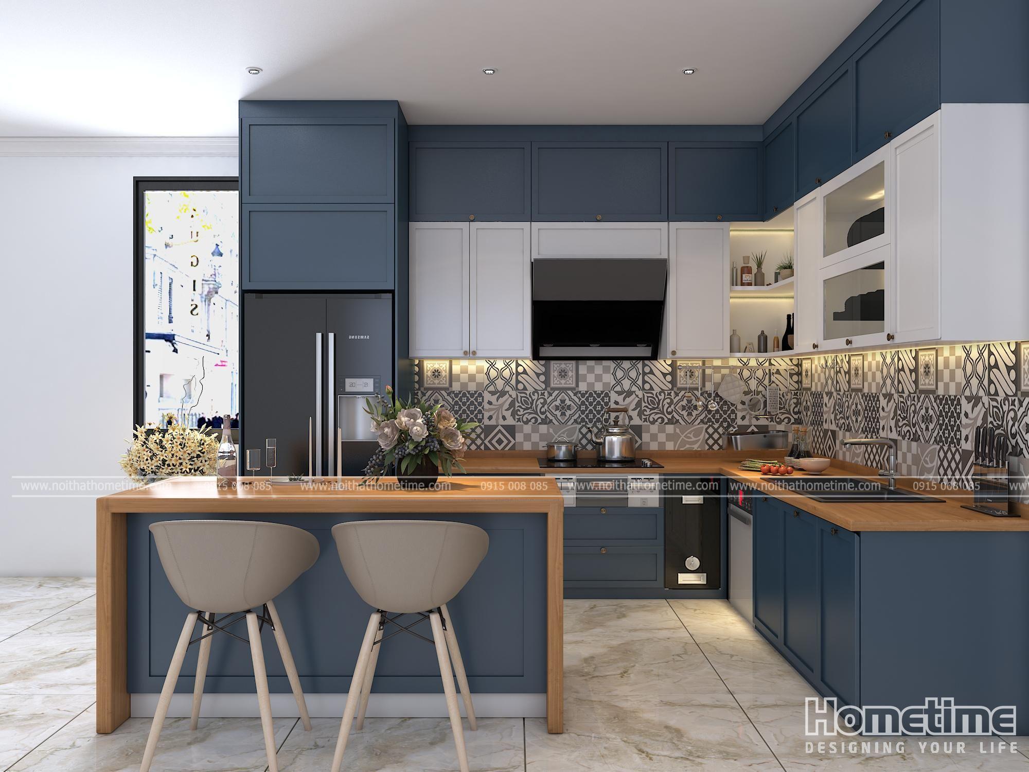 Tủ bếp sử dụng màu xanh Navy kết hợp màu trắng mờ