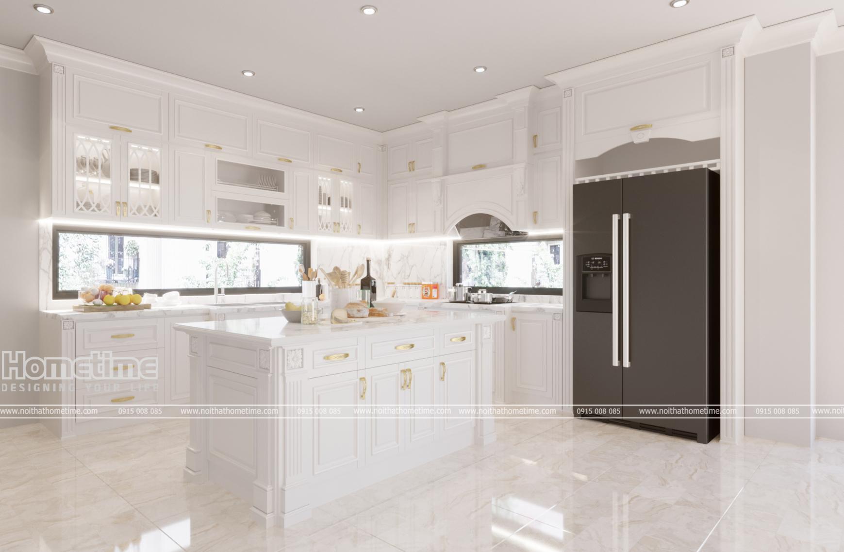 Thiết kế tủ bếp Tân Cổ Điển nhà cô Hương Ecopark Hưng Yên