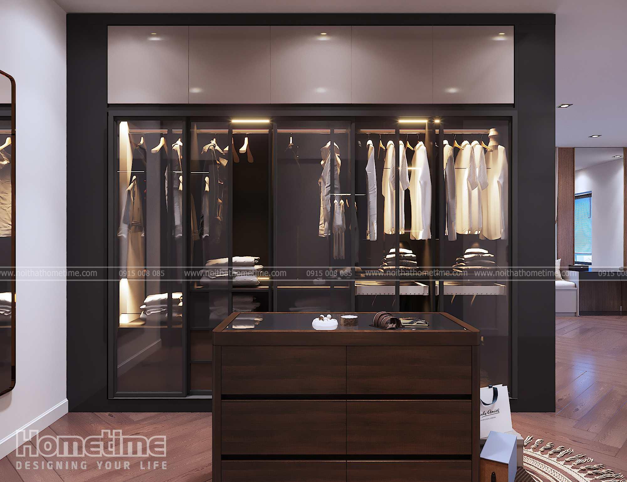 Tủ quần áo cánh kính khung nhôm inox cao cấp