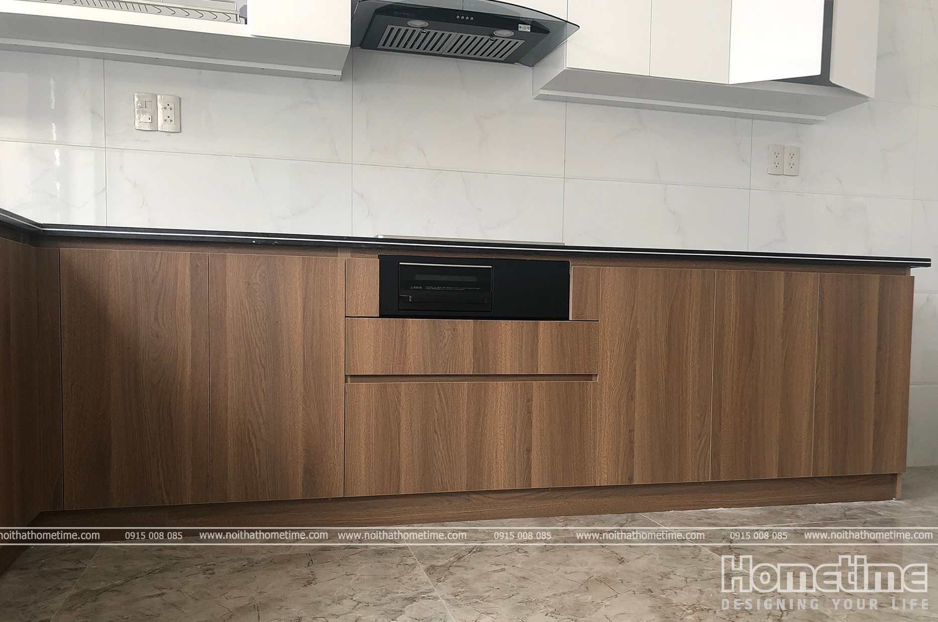 Tủ bếp dưới phủ laminate vân gỗ