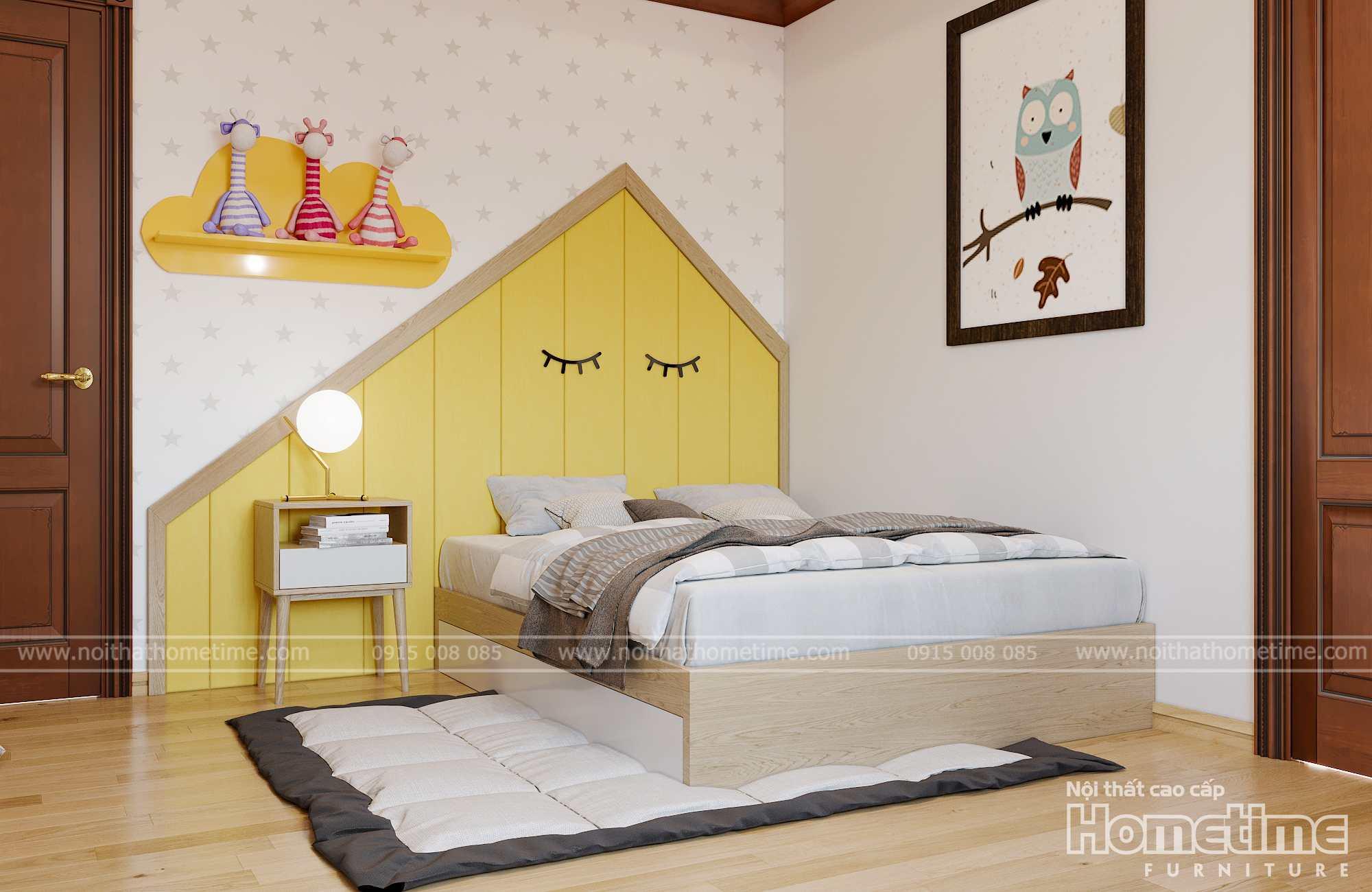 Giường ngủ êm ái và thoải mái với gam màu trắng