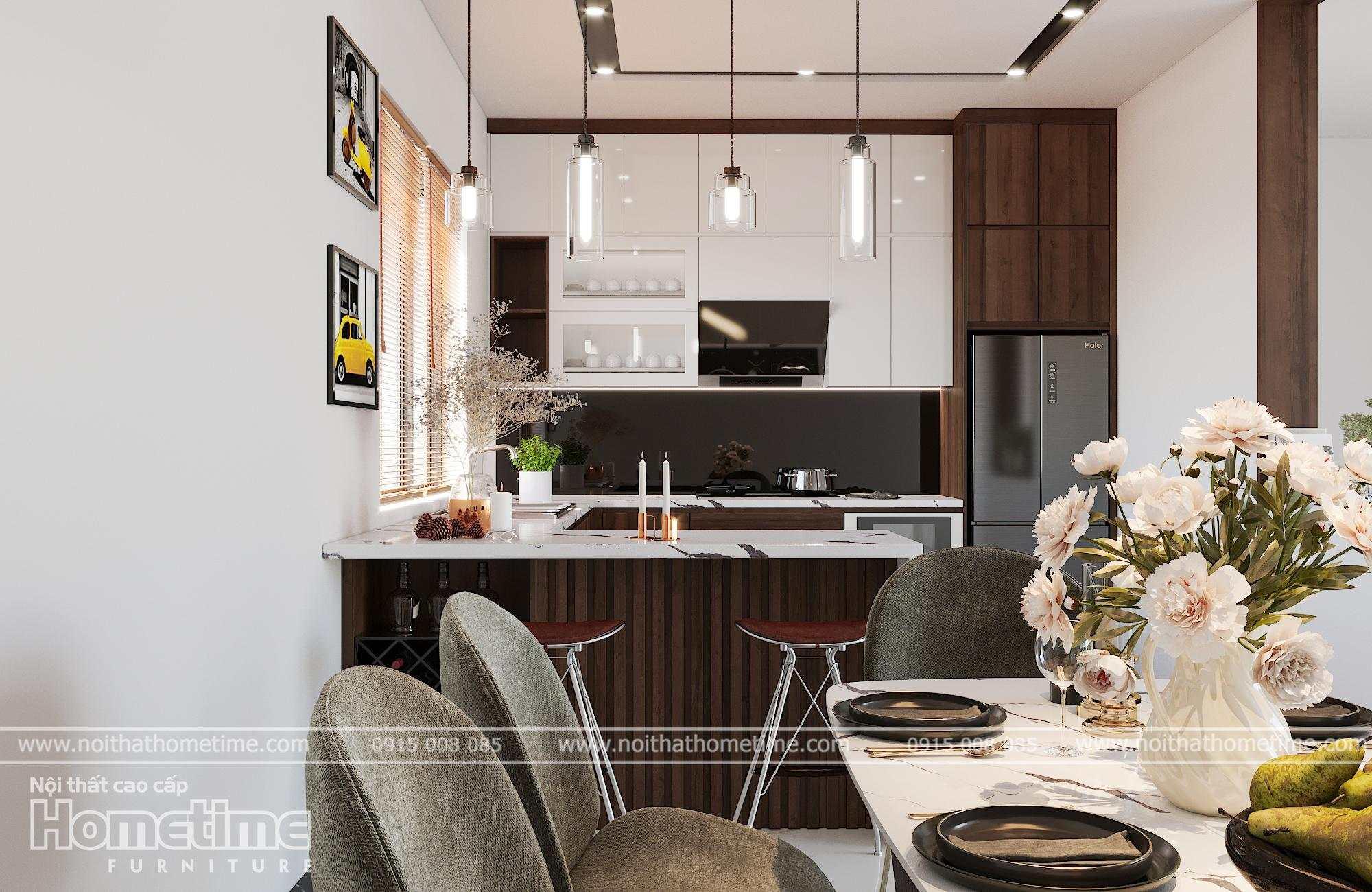 Sự kết hợp hài hòa trong màu sắc thiết kế tủ bếp